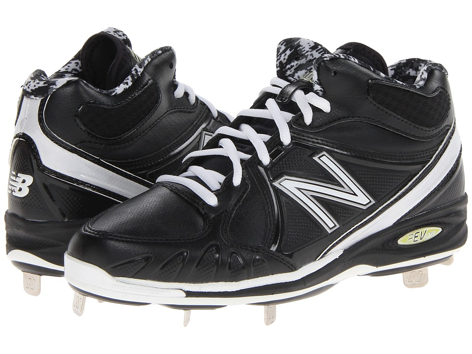 New Balance - MB3000 Metal Synthetic Mid-Cut Cleat (Black/White) Men