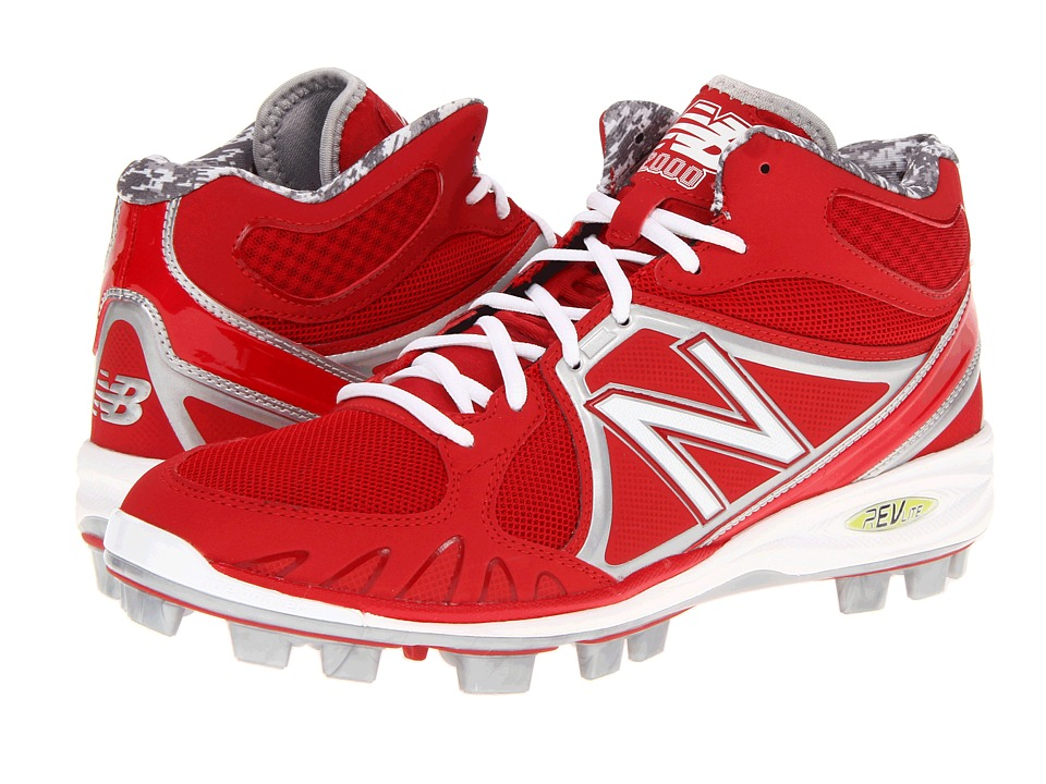 New Balance - MB2000 TPU Molded Mid-Cut Cleat (Red/White) Men's Cleated Shoes
