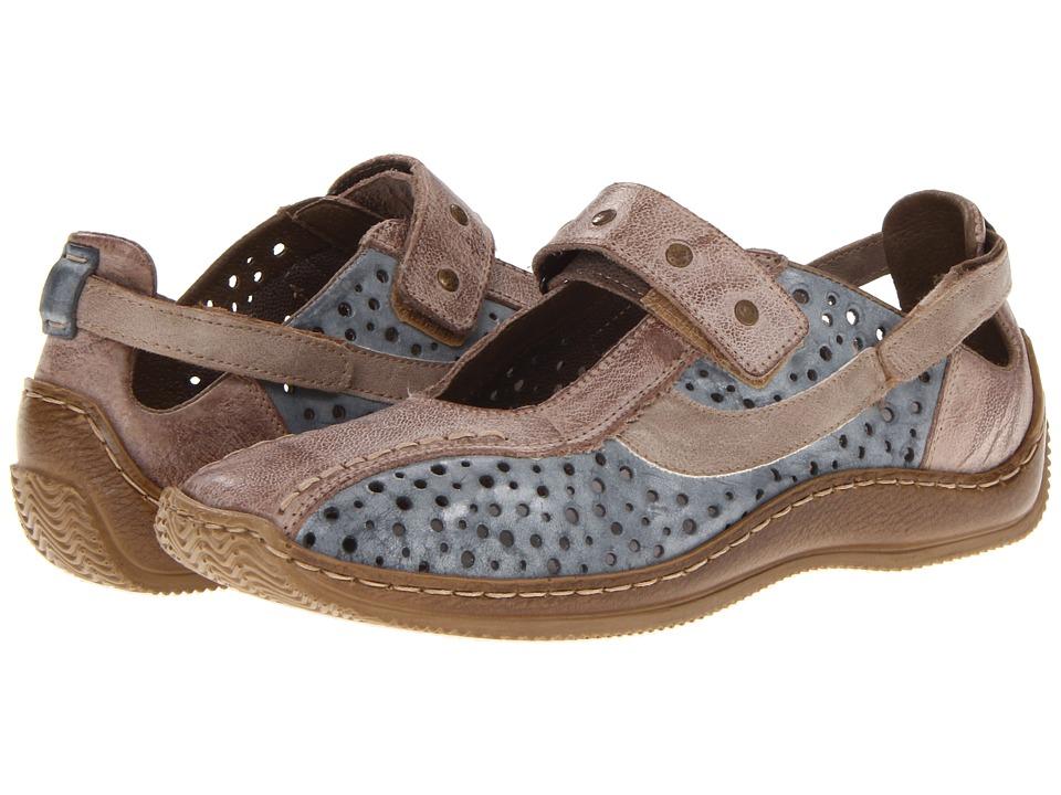 Rieker - L1768 Celia 68 (Stone/White Denim Kiesel) Women's Hook and Loop Shoes