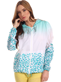 SALE! $111.99 - Save $138 on adidas by Stella McCartney Travel Pack Print Jacket (White Radiant Aqua) Apparel - 55.20% OFF $250.00