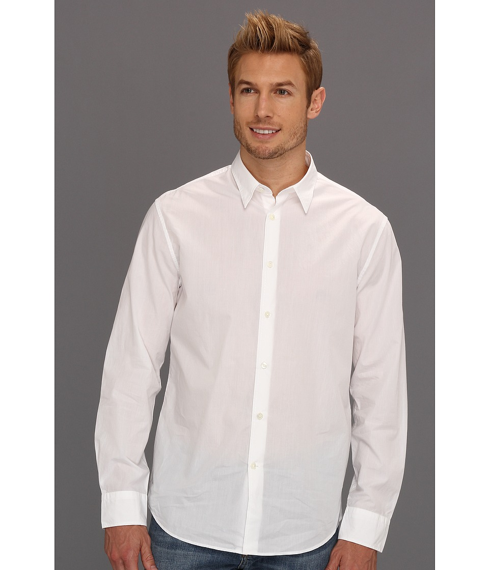 John Varvatos Collection - Pickstitched Classic Fit Shirt (White) Men's Long Sleeve Button Up