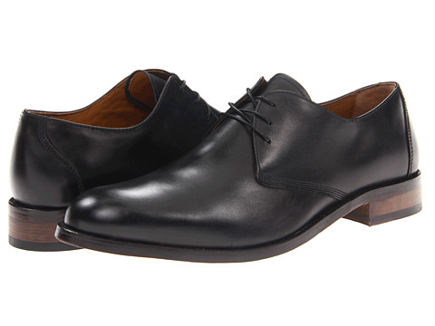 Johnston & Murphy - Hartley Plain Toe (Black Calfskin) Men's Lace up casual Shoes