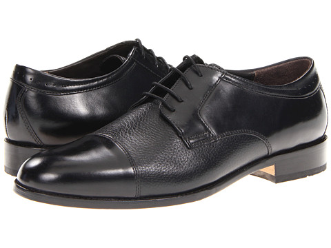 Johnston & Murphy - Emmert Cap Toe (Black Calfskin/Deerskin) Men's Lace Up Cap Toe Shoes