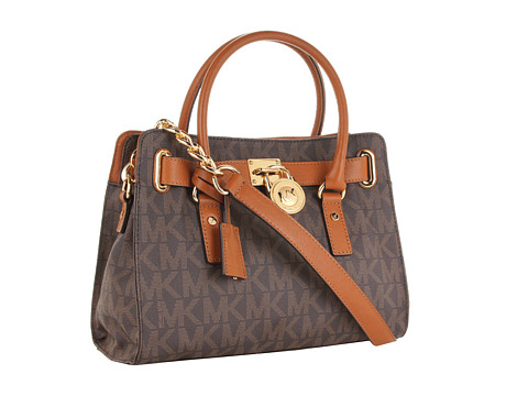 MICHAEL Michael Kors - Hamilton Logo EW Satchel (Brown) Satchel Handbags