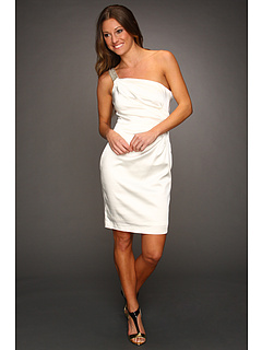 SALE! $104.99 - Save $104 on Calvin Klein Ruched Satin Dress with Bead Embellishments (Ivory) Apparel - 49.77% OFF $209.00