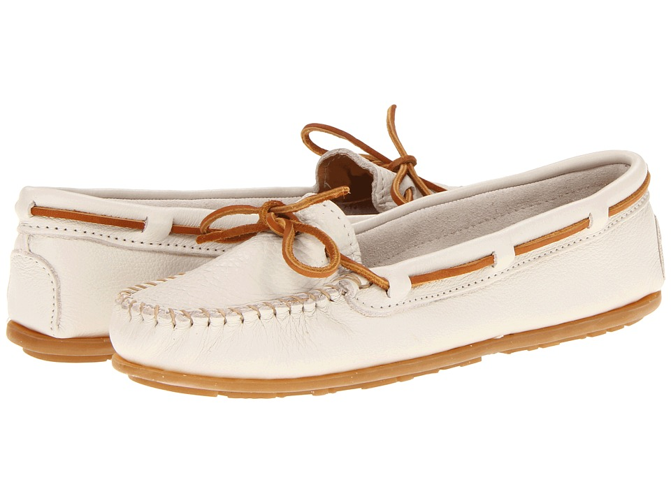 Minnetonka - Boat Moc (Off White Leather) Women's Moccasin Shoes