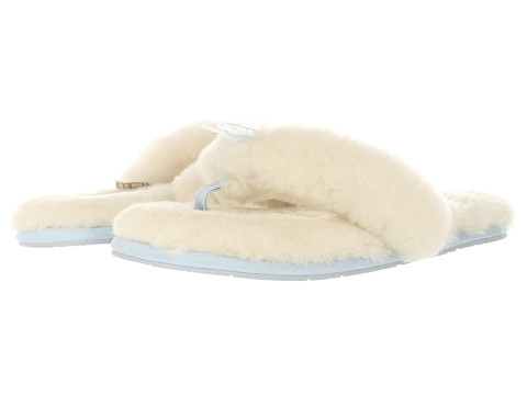 UGG - Fluff Flip Flop I Do! (White/Baby Blue) Women's Slippers