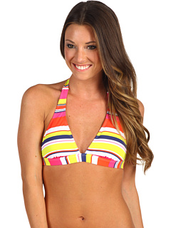 SALE! $16.99 - Save $44 on Splendid Circus Stripe Removable Soft Cup Halter Bra (Coral) Apparel - 72.15% OFF $61.00