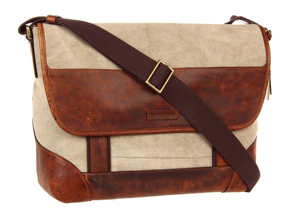 Frye - Harvey Messenger (Tan Canvas/Antique Pull Up) Messenger Bags
