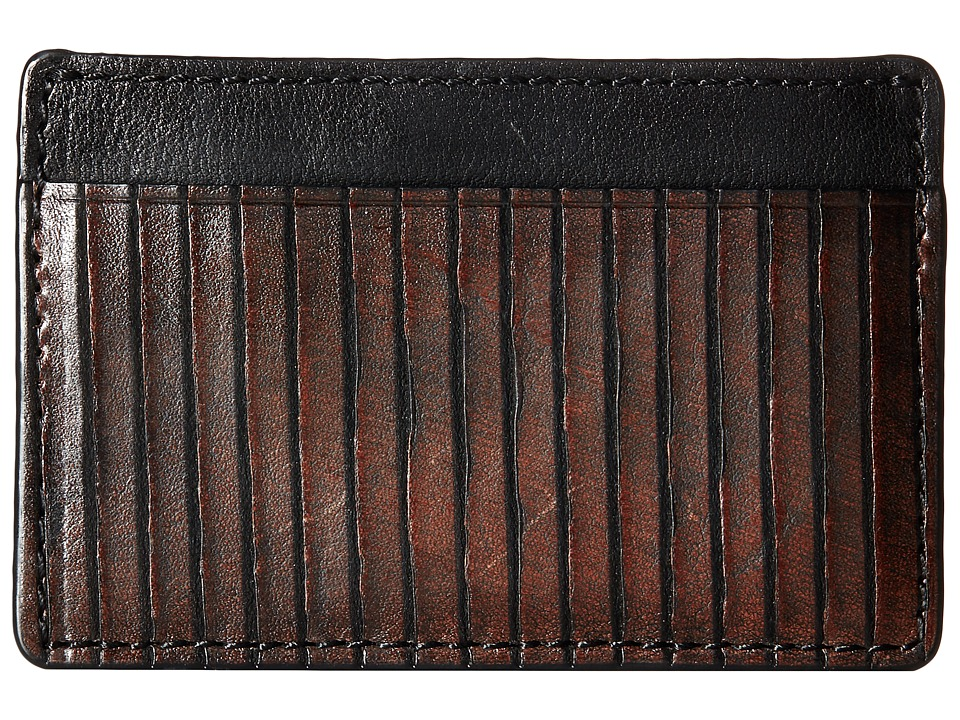 Frye - James Card (Dark Brown Veg Cut Leather) Credit card Wallet