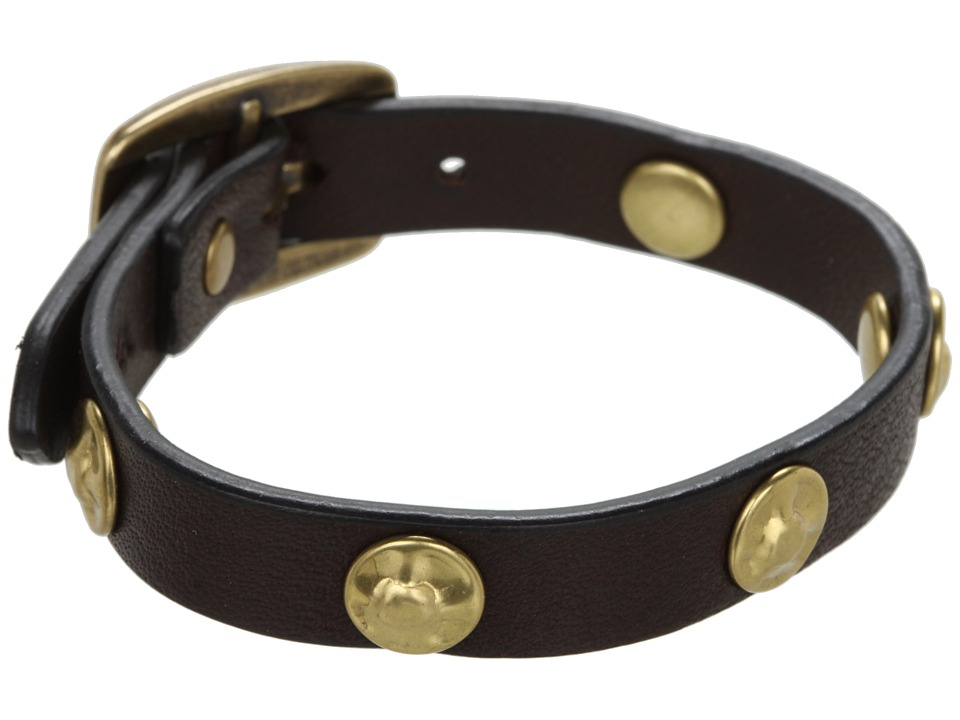 Frye - Stud Wrap Cuff (Dark Brown Soft Vintage Leather) Bracelet