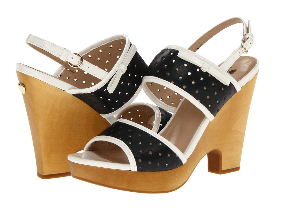 LOVE Moschino - Perforated Leather Heels (Black/White) High Heels