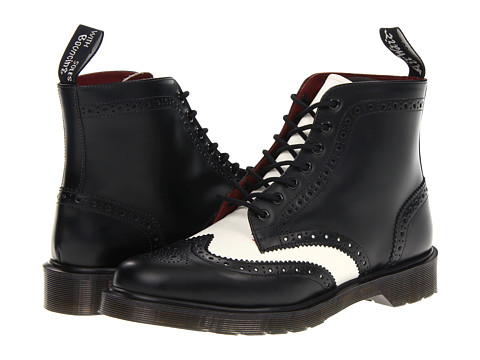 Dr. Martens - Affleck Brogue Boot (Black/Off White Smooth) Lace-up Boots