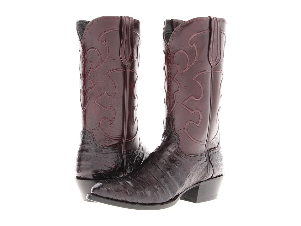 Lucchese - M1637 (Black Cherry Belly Crocodile/Cordovan Derby Calf) Cowboy Boots