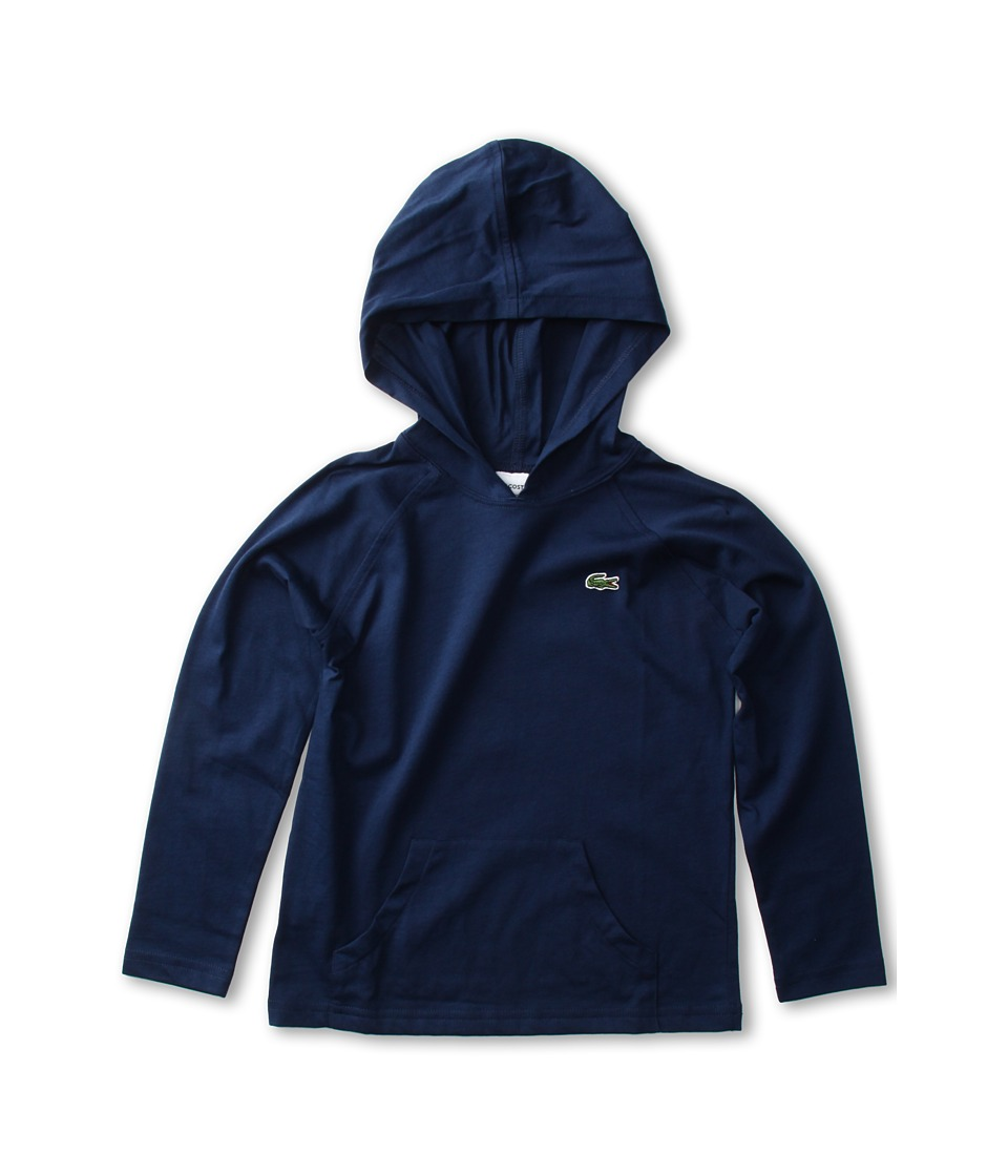 Lacoste Kids - L/S Jersey Hoodie Tee (Toddler/Little Kids/Big Kids) (Ship Blue) Boy's Sweatshirt