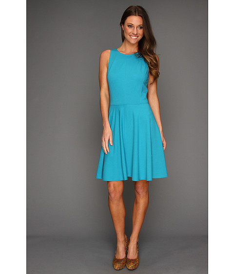 Rebecca Taylor - Ponte Pleated Dress (Turquoise) Women's Dress