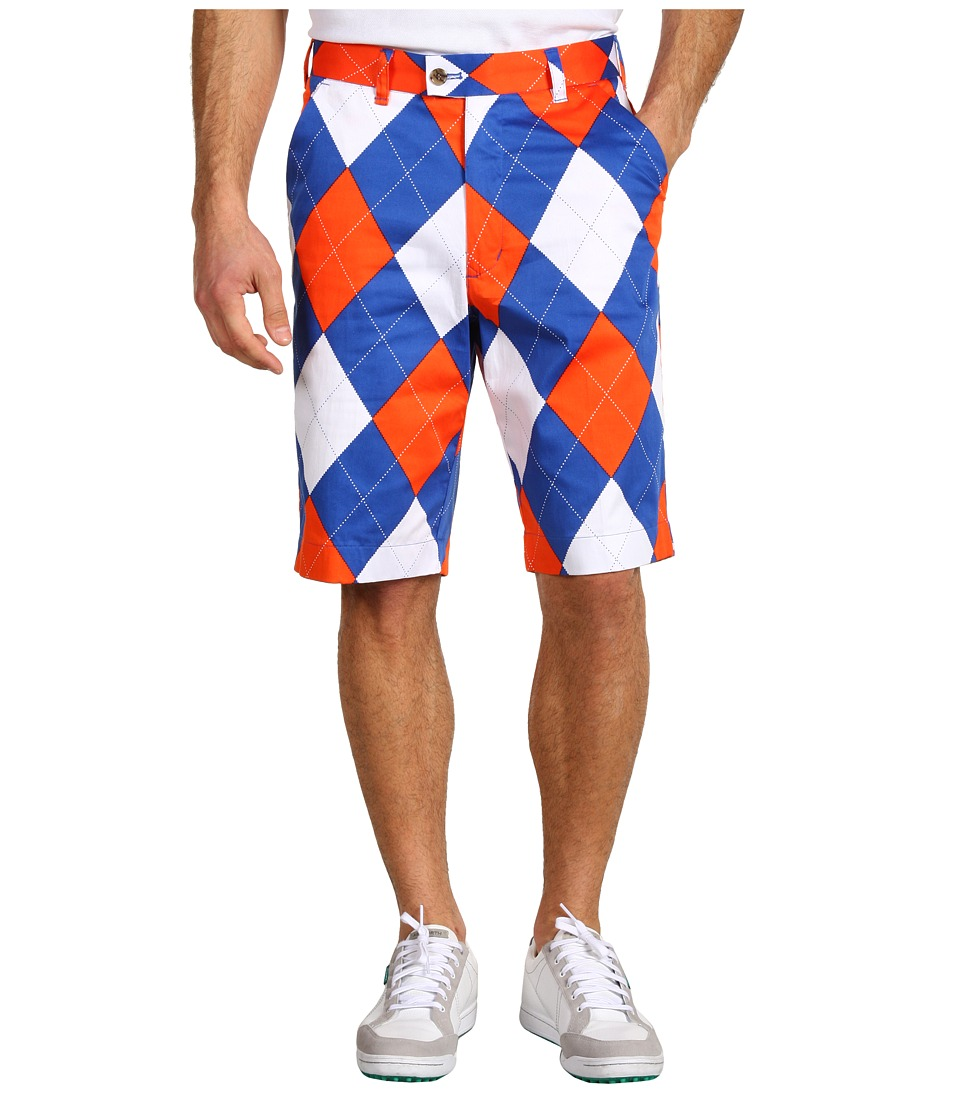 Loudmouth Golf - Orange and Blue Short (Orange/Blue/White Argyle) Men's Shorts