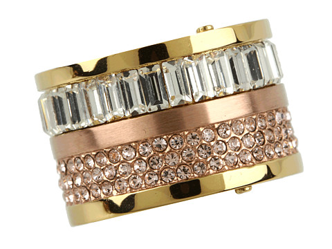 Michael Kors - Brilliance Pave and Stone Barrel Ring (Two Tone) Ring