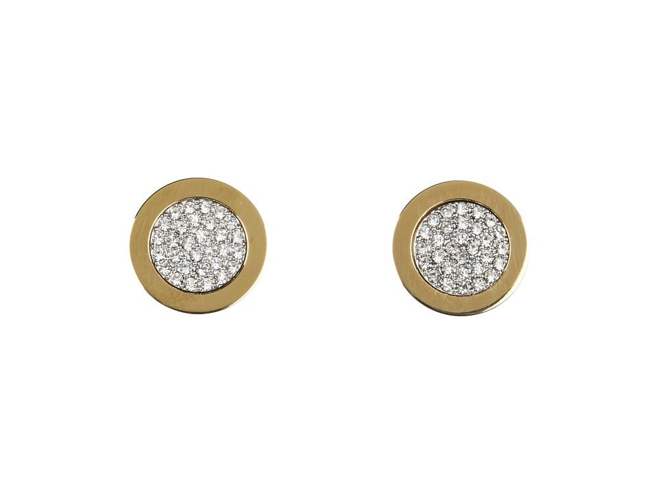Michael Kors - Brilliance Pave Slice Stud Earrings (Gold) Earring