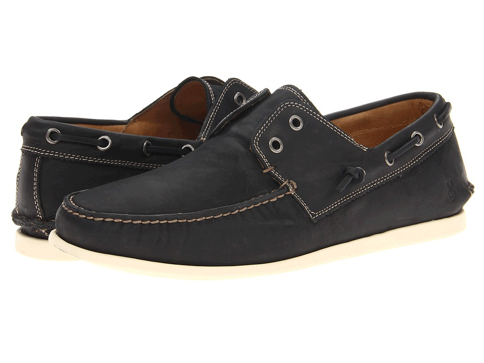 John Varvatos - Schooner Boat (Black) Men's Slip on Shoes