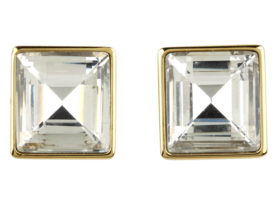 Michael Kors - Cocktail Party Crystal Square Stud Earrings (Gold) Earring