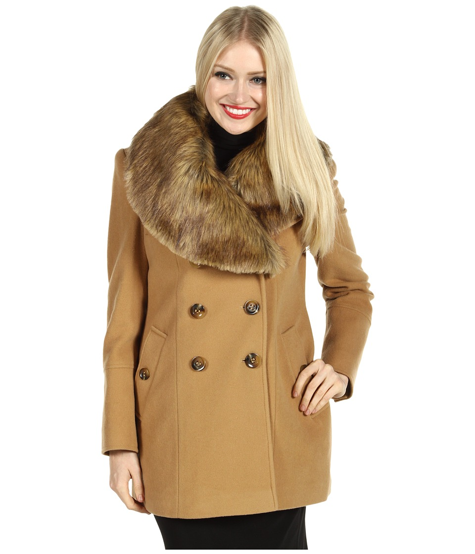 Nicole Miller Fur Trim Peacoat Womens Coat (Tan)