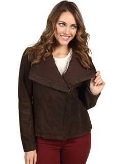 SALE! $91.99 - Save $168 on Nicole Miller Leather Jacket w Ribbed Knit Trim (Brown) Apparel - 64.62% OFF $260.00