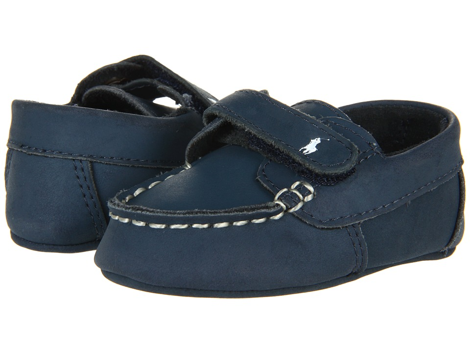 Polo Ralph Lauren Kids - Captain EZ Soft Sole (Infant/Toddler) (Navy Crazyhorse Leather) Boys Shoes
