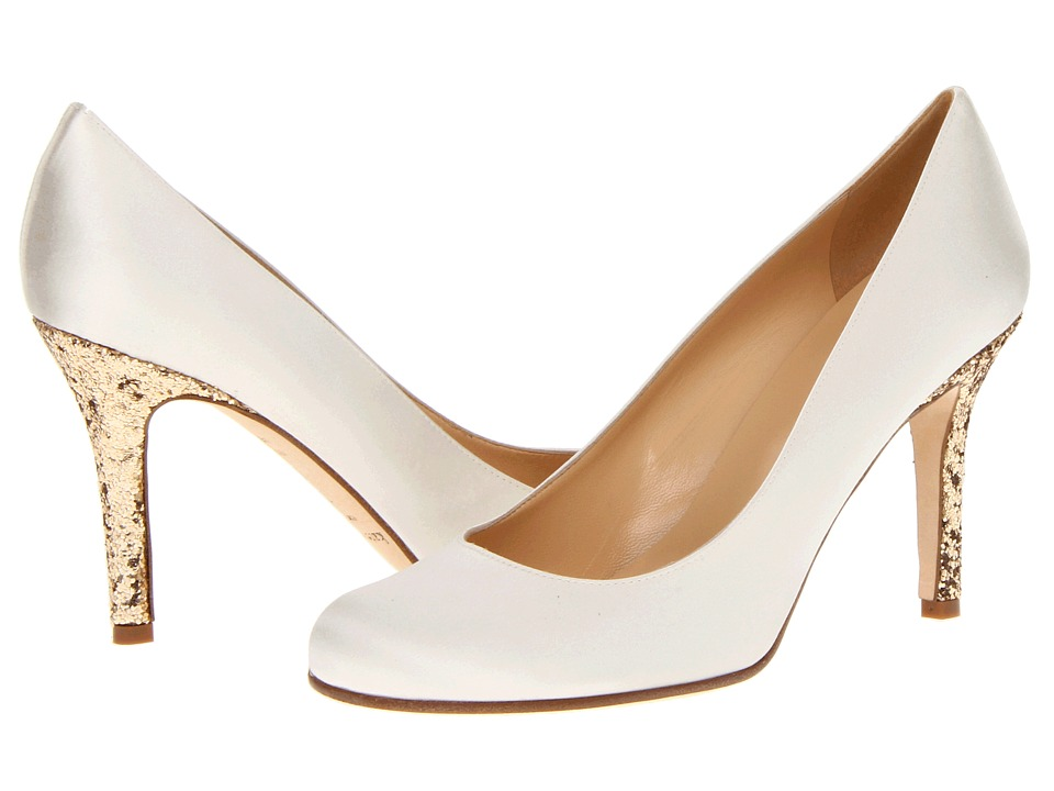 Kate Spade New York - Karolina (Ivory Satin/Gold Glitter Heel) Women's Slip-on Dress Shoes