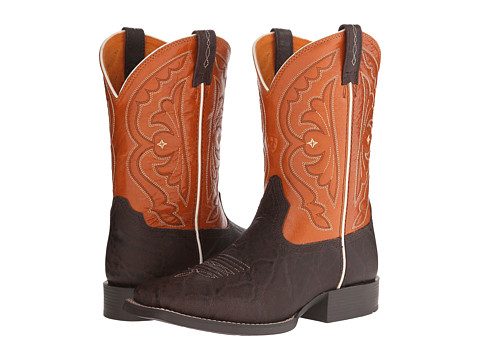 Ariat Kids - Quickdraw (Toddler/Little Kid/Big Kid) (Chocolate Elephant Print/Mandarin) Cowboy Boots