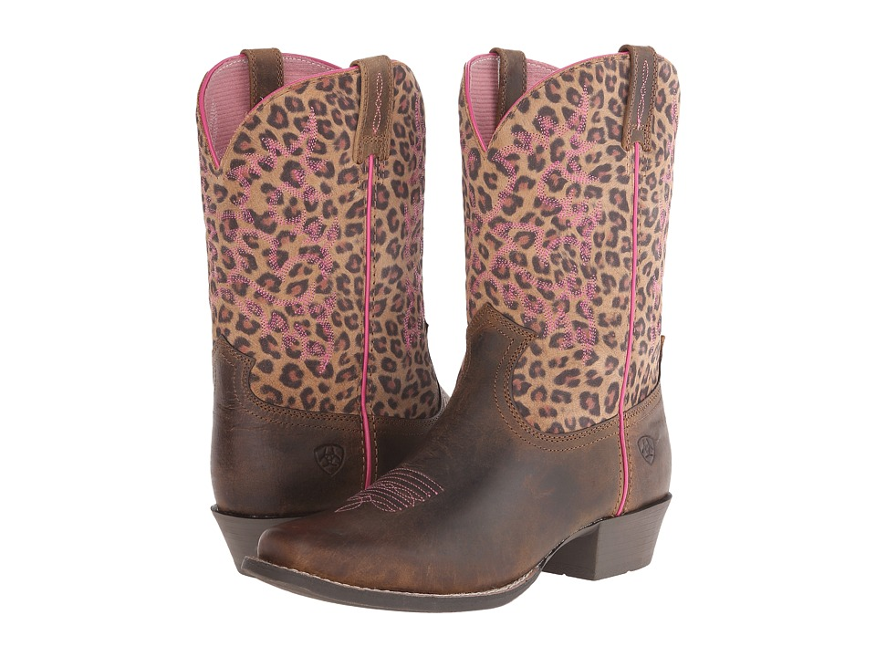 Ariat Kids - Legend (Toddler/Little Kid/Big Kid) (Distressed Brown/Leopard Print) Cowboy Boots