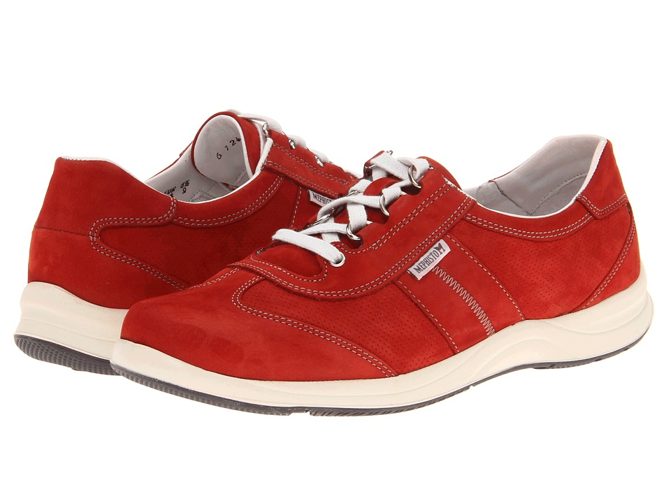 Mephisto - Laser Perfore (Red Nubuck) Women's Lace up casual Shoes