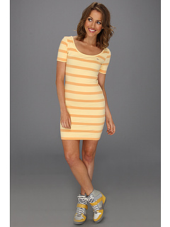 SALE! $69.99 - Save $55 on Lacoste L!VE Half Sleeve Stripe Scoopneck Pique Dress (Joy Yellow Melba Peach Orange) Apparel - 44.01% OFF $125.00