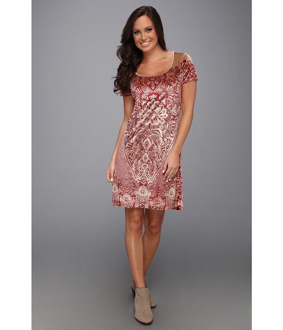 Lucky Brand Paisley Velvet Dress Womens Dress (Red)
