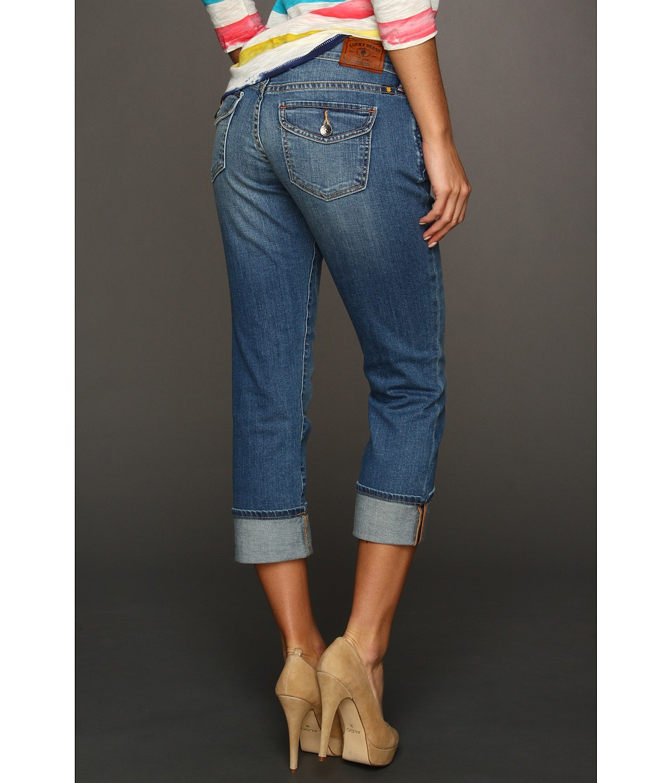 Lucky Brand Sweet N Straight Crop in Medium Polydore Womens Jeans (Blue)