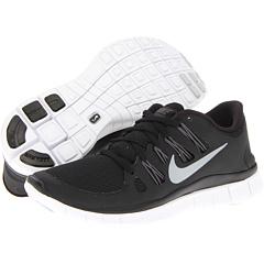 Nike Free 5.0+ (Black/Dark Grey/White/Metallic Silver) Women's Running Shoes