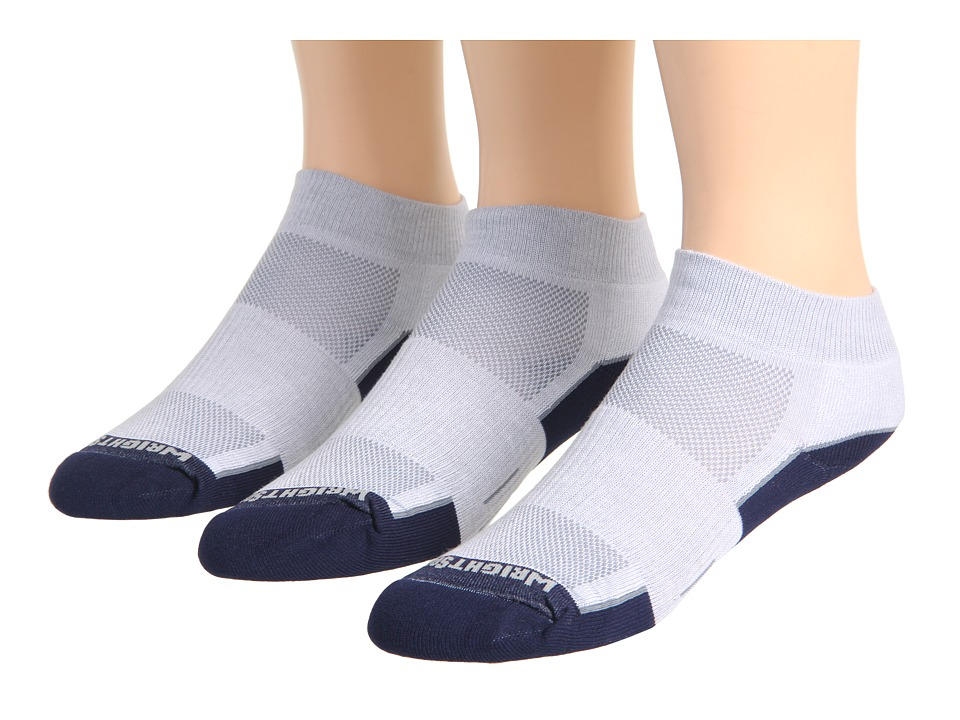 Wrightsock - DL FUEL Lo 3-Pair (Light Grey/Navy) Low Cut Socks Shoes