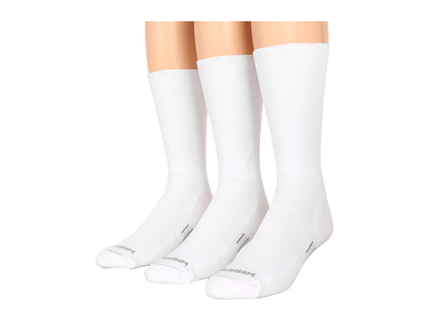 Wrightsock - DL FUEL Crew - 3 Pack (White) Crew Cut Socks Shoes