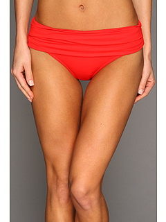 SALE! $29.99 - Save $24 on Calvin Klein Pleated Foldover Full Coverage Bikini Bottom (Fiery Red) Apparel - 44.46% OFF $54.00