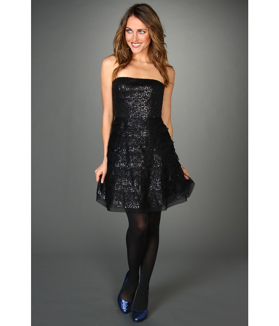 BCBGMAXAZRIA - Seri Strapless Sequin Cocktail Dress (Black) Women
