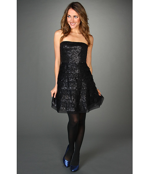 BCBGMAXAZRIA - Seri Strapless Sequin Cocktail Dress (Black) Women
