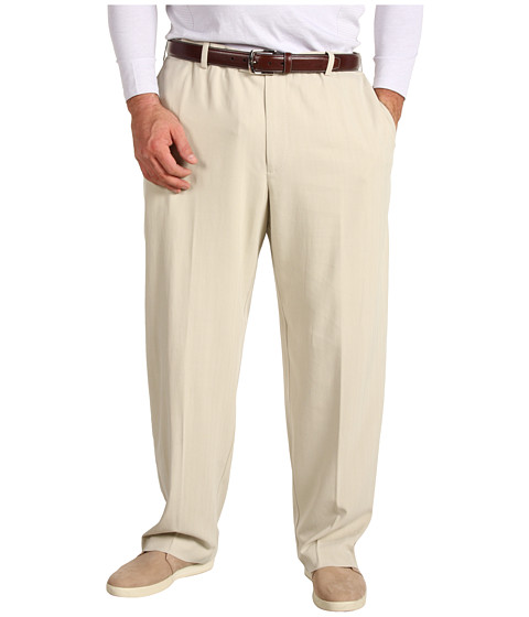 Tommy Bahama Big & Tall - Big Tall Flying Fishbone Flat Front Pant (Khaki Sands) Men's Clothing