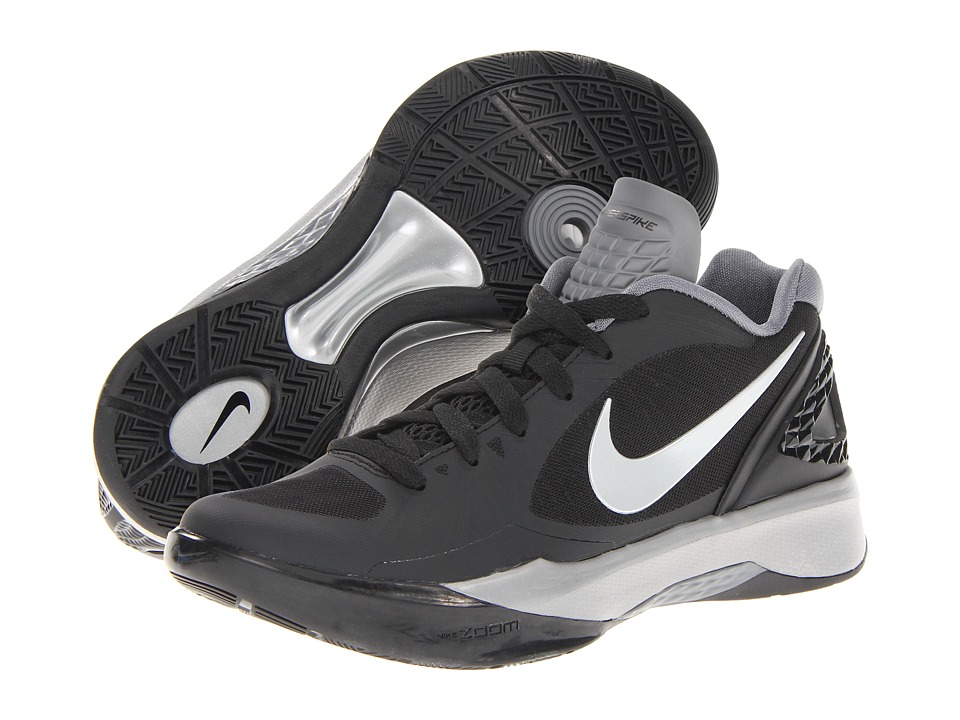 Nike - Volley Zoom Hyperspike (Black/White/Metallic Silver) Women's Volleyball Shoes