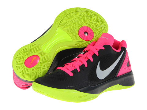 Nike - Volley Zoom Hyperspike (Anthracite/Pink Flash/Volt/Metallic Platinum) Women's Volleyball Shoes