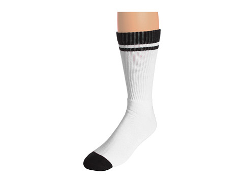 Nike - Sportswear Classic Striped Single Crew 1-Pair Pack (White/Black/(Sport Red)) Men's Crew Cut Socks Shoes