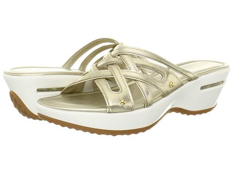 Womens Sandals Cole Haan Air Ezra Slide White Gold Metallic