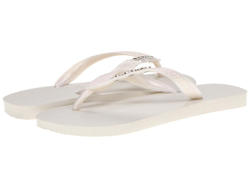 Havaianas - Top Logo Metallic Flip Flops (White/Pearl) Women
