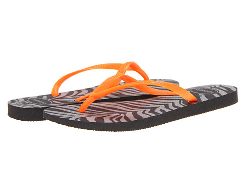 Havaianas - Slim Animals Fluo Flip Flops (Black) Women