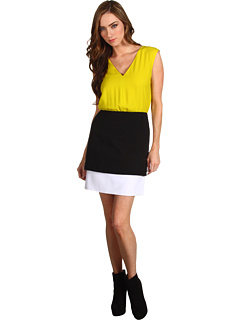 SALE! $191.99 - Save $233 on Tibi V Neck Dress (Lime Green Black White Multi) Apparel - 54.83% OFF $425.00