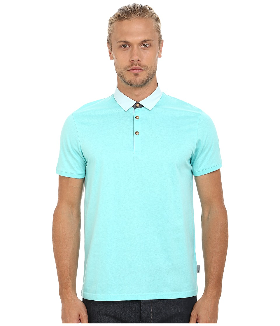 Ted Baker - S/S Polo w/ Woven Collar (Light Green) Men's Clothing